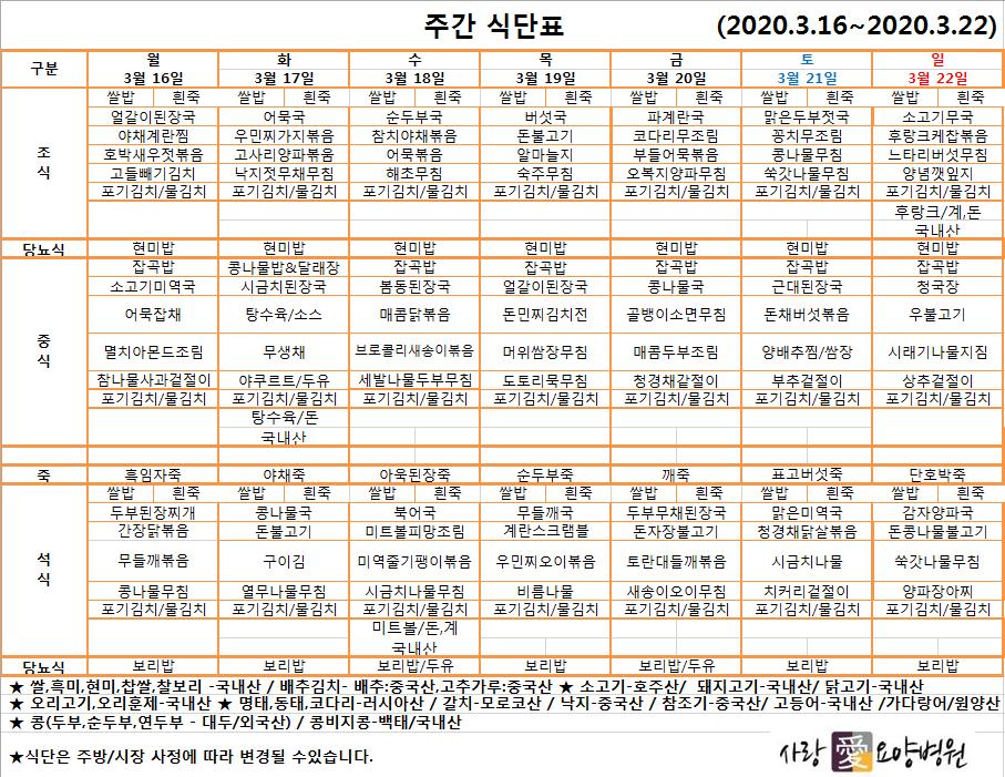 주간식단표